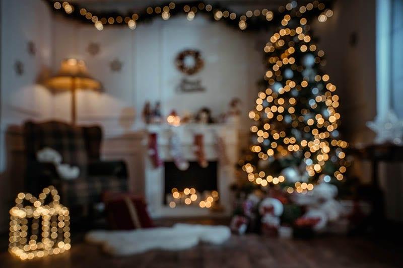 Defocused christmas room at night