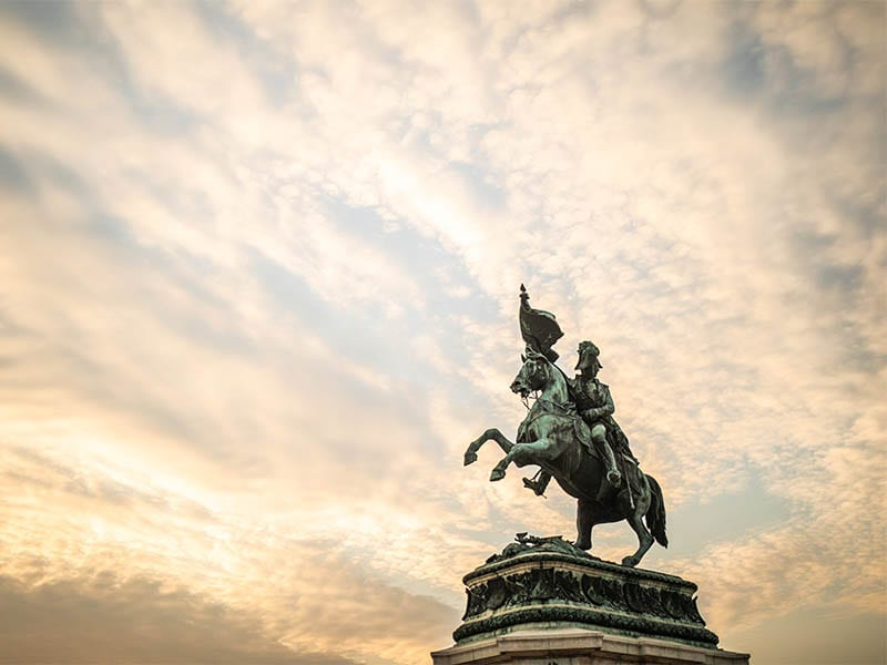 Sculpture of prince Eugene at Hofburg in Vienna on sunset